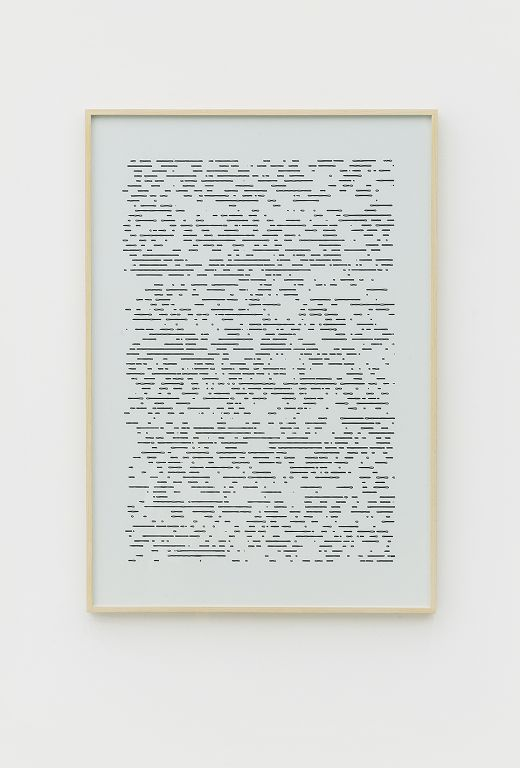 "《Sun Drawing (Beijing 2015)》,光束,热敏纸,100 × 70 cm ,装裱尺寸 102 x 71 cm,2017 ""Sun Drawing (Beijing 2015)"", light beam, thermal paper, 100 × 70 cm, framing: 102 x 71 cm, 2017"