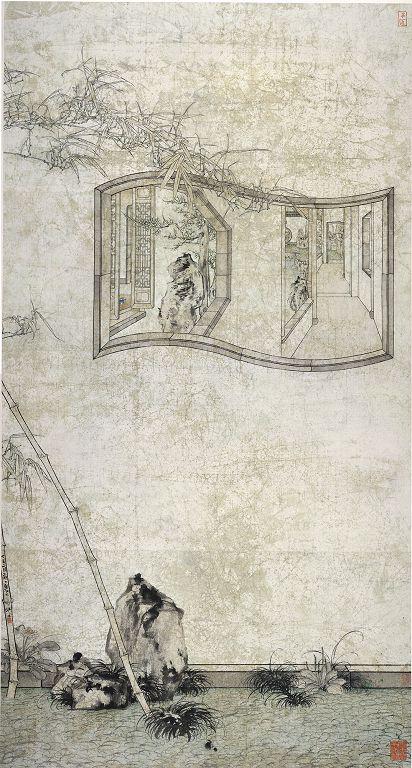 郑力,《故园心眼》,水墨 设色 纸本240 x 128 cm,2017(图片由艺术家及汉雅轩提供) ZHENG Li,
