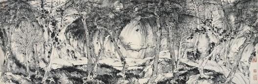 郑力,《小万壑松风图》,水墨 纸本,34 x 104 cm,2009(图片由艺术家及汉雅轩提供) ZHENG Li,