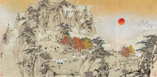 郑力,《玉宇高飞》,水墨 设色 纸本,137 x 276 cm,2016(图片由艺术家及汉雅轩提供) ZHENG Li,