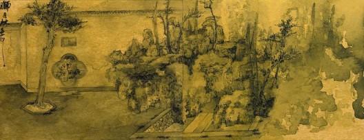 郑力,《狮子林写生》,水墨 金笺,31.5 x 82 cm,2011(图片由艺术家及汉雅轩提供) ZHENG Li,