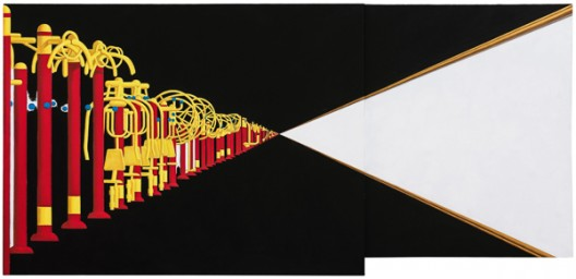 ZANG KUNKUN View II, 2016 Acrylic on canvas 2 parts, 150 x 315 x 5 cm (59 x 124 x 2 in.) Signed and dated verso (image courtesy the artist and Mai 36 Galerie)