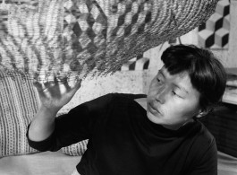 Asawa in her studio in 1957. Photo by Imogen Cunningham © 2017  Imogen Cunningham Trust  Courtesy David Zwirner, New York/London