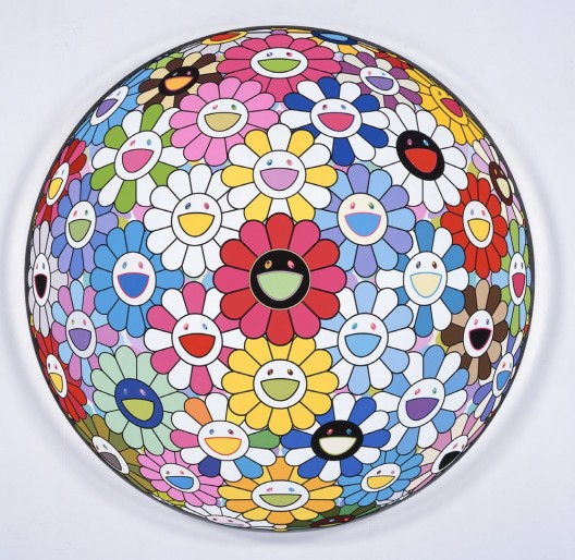 TAKASHI MURAKAMI Untitled (Flowerball), 2016, acrylic and platinum leaf on canvas mounted on wood panel, 59 1:16 inches diameter 150 cm diameter, © 2016 Takashi Murakami : Kaikai Kiki Co., Ltd. (image courtesy the artist and Perrotin)