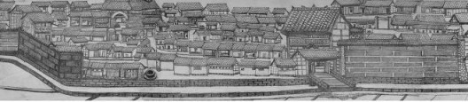 """Cao Minzhi and Chen Jianjun """"Rooftop and the Wall"""" project, 2016 (Scroll Drawing No.2, drawing by Gong Suqing, detail 2015)  曹明浩+陈建军「天台与墙」剧场,2016 (素描 卷2,龚素清绘制,局部,2015)"""