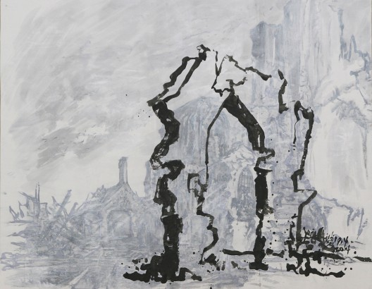 Yang Jiechang 楊詰蒼, Arc de Triomphe 1914-2014, 2014,  ink and acrylic on paper, mounted on canvas, 152 x 191cm (image courtesy the artist)