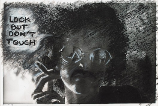 Adrian Piper, The Mythic Being: Look But Don't Touch, 1975. Silver gelatin print, oil crayon. 8