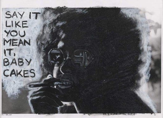 Adrian Piper, The Mythic Being: Say It Like You Mean It, 1975. Silver gelatin print, oil crayon. 8