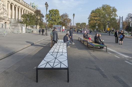 Matt Mullican 5 WORLD, 13 BENCHES 2013 Location: Avenue Winston Churchill, between Grand Palais and Petit Palais, 75008 Paris (courtesy Galerie Mai 36)