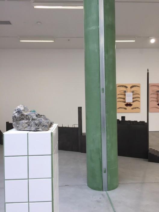 Zhang Ruyi installation view, sculpturally incorporated with the gallery space's structural columns