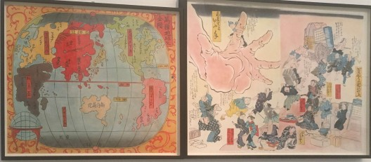 "Sam Durant, ""1853-1900, Map of the World, Japan Centered"", colored pencil on paper, diptych, 51.9x61.8, 57.2x76.2cm, 2015"