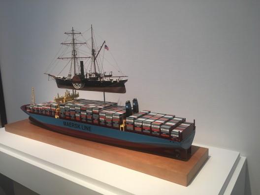"Sam Durant, ""The Commodore's Dream"", model ships, 59.1x134 x27.9cm, 2017"