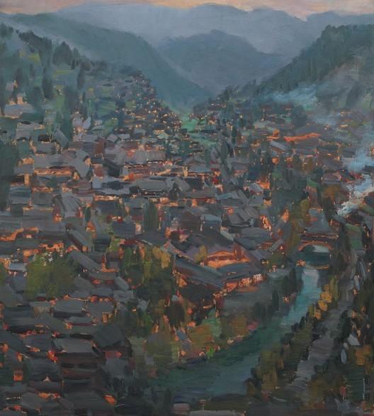 《万家灯火》,板面油画,110X120cm