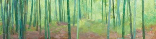 《竹林深深》,布面油画,150X600cm