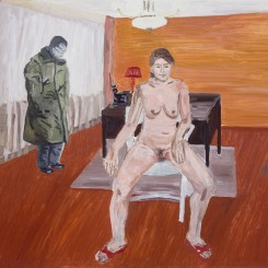 Gang Zhao Naked Woman and Man in Military Uniform, 2009 Oil on canvas 130h x 155w cm (image courtesy the artist and Galerie Nagel Draxler)
