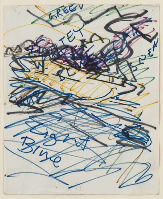 Study for Tree on Primrose Hill, 1982, black ink and coloured crayon on paper, 21 x 27.5 cm.; 8 1/4 x 10 7/8 in. Copyright Frank Auerbach, Courtesy Marlborough Fine Art