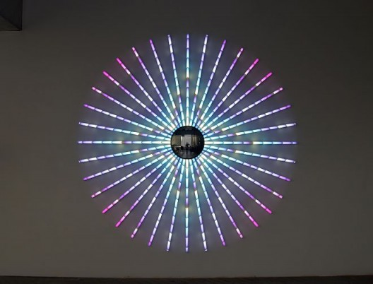 Blue Star, 2014, James Clar, LED Lights, Mirror, Filters, Wire, 240cm diameter