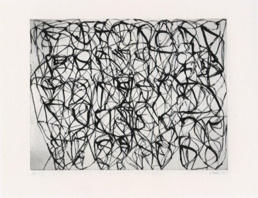 Brice Marden, Cold Mountain Series, Zen Studies 5 (Early State), 1990, Etching, aquatint, sugar lift aquatint, spit bite aquatint and scraping on paper, 69 x 89.5 cm © 2018 Brice Marden/Artists Rights Society (ARS), New York. Courtesy Gagosian