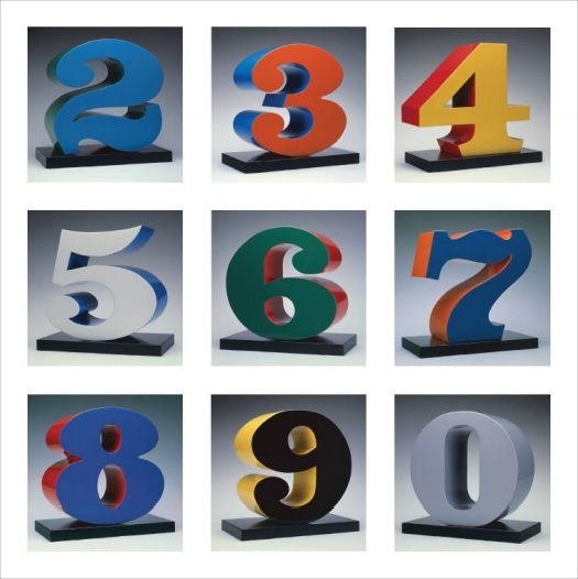 Robert Indiana, ONE through ZERO, 1978-2003, polychrome aluminum, 33 3/4 x 33 x 17 inches each, 85.7 x 83.8 x 43.2 cm, Edition of 3 + 2 APs. © Morgan Arts Foundation / Artist Rights Society, ARS, New York.