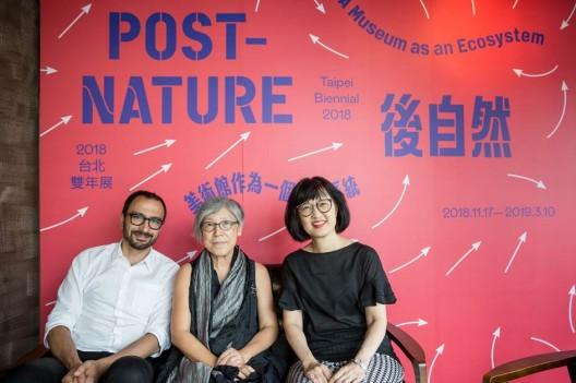 2018 Taipei Biennial Curators, Mali Wu (M) and Francesco Manacorda (L) with Director of TFAM, Ping Lin (R) ©Taipei Fine Arts Museum