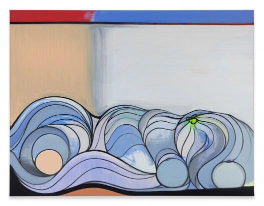托马斯·塞比茨,《纸浆》,130 x 170 cm,布面油画,乙烯,彩色马克笔,2017 THOMAS SCHEIBITZ, Pulp, Oil, Vinyl, Pigment Marker on Canvas, 130x170cm, 2017