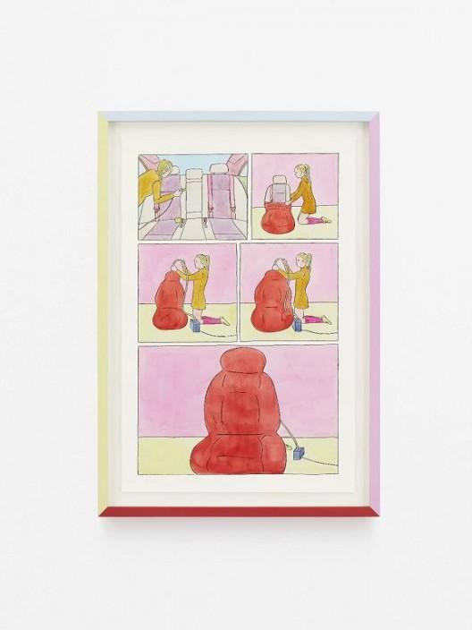 安德鲁斯‧施密特,《连环画》,2018,彩色铅笔,水彩,水彩纸,艺术家制框,51.5 x 34 cm, 照片:Andreas Fechner © 图片由艺术家和国王画廊提供 Andreas Schmitten,