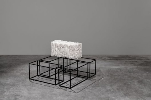 Warp & Weft 01, 2018, Bianco Peak marble and powder-coated stainless steel, 60 x 30 x 24 cm