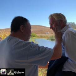 Ai Weiwei and Jens at Donum Sculpture Park, California, September 2018