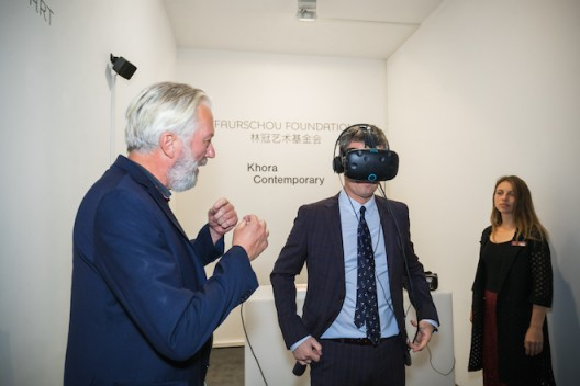 Frederic Crown Prince of Denmark experiencing the VR work of Yu Hong Beijing Sep 2019 (Photo Credit Olli Geibel)