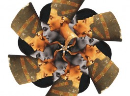 Pio Abad, design for ceramic plate depicting Imelda Marcos as Semiramis, mistakenly depicted as Nefertiti, 2012.