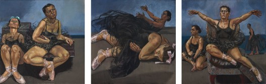 "Paula Rego, ""Dancing Ostriches from Disney's 'Fantasia'"",  1995. Triptych, pastel on paper mounted on aluminium, each panel 150 x 150 cm. Saatchi Collection, London  宝拉·雷戈,""迪士尼幻想曲之跳舞的鸵鸟"",1995,三联纸上色粉镶铝框,每幅150 x 150 cm,伦敦萨奇收藏"