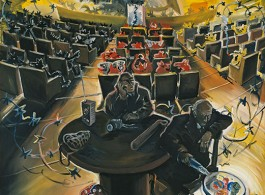 Jörg Immendorff, Parliament, 1978. Acrylic on canvas, 59 x 59 inches (150 x 150 cm).