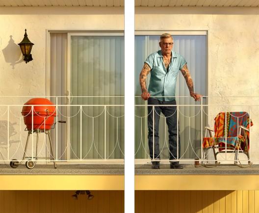 Rodney Graham, Tattooed Man on Balcony, 2018