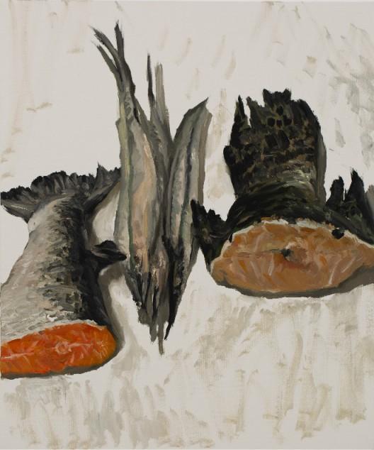 Ni Jun 倪军 Four Pikes 四条梭鱼, 2019 Oil on canvas 布面油画 60 x 50 cm