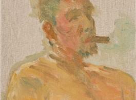Ni Jun 倪军 Taking a Break 抽烟的人, 2017 Oil on canvas 布面油画 40 × 30 cm