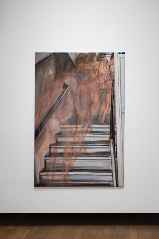 Jana Euler,《上楼梯的裸体》,2014,布面油画,180 × 120厘米Jana Euler,