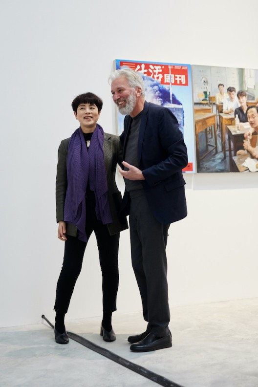 Artist Yu Hong with Jens Faurschou at the opening of Faurschou New York. Photo by Ed Gumuchian, © Faurschou Foundation.