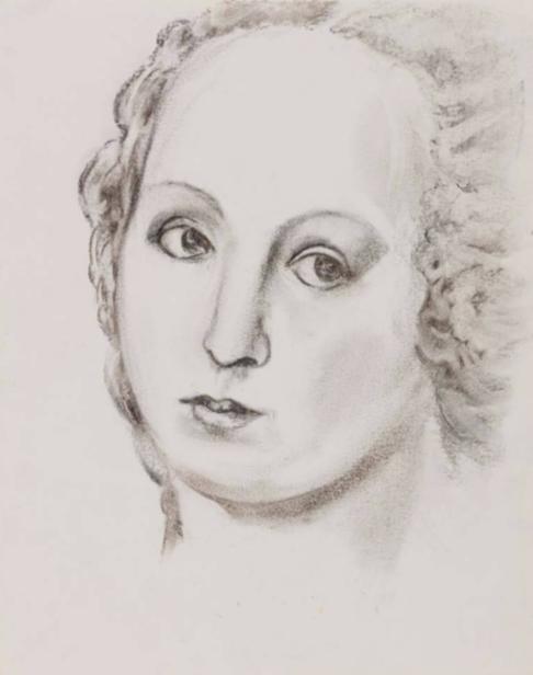 """马歇尔·雷斯,《拉斐尔 Villa Borghese 的临摹》, 纸上木炭,40 × 32 cm,1988Martial Raysse, """"Copie d'après Raphael Villa Borghese"""", charcoal on paper,  40 × 32 cm, 1988"""