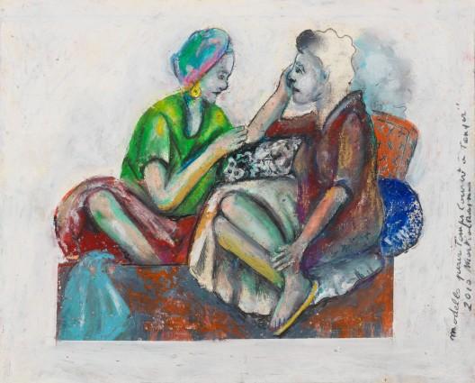 """马歇尔·雷斯,《Temps Couvert à Tanger》中的模特, 纸上色粉,19 × 23 cm,2010Martial Raysse,""""Modèles pour Temps Couvert à Tanger"""", pastel on paper, 19 × 23 cm, 2010"""