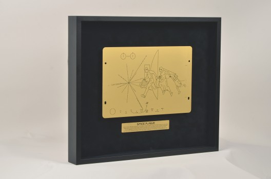Halil Altındere, Space Plaque Message from Earth 2019; Acid etching on brass, framed 38x45cm PILOT