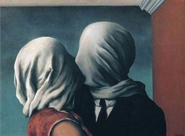 "René Magritte, The Lovers II, 1928. Oil on canvas, 21 3/8 x 28 7/8"" (54 x 73.4 cm), MoMA New York. Image courtesy René Magritte Organisation"
