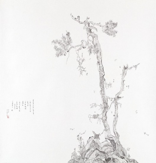 LIN Xue, Untitled (2018-6), 2018, ink on paper, 45 x 43 cm, 54 x 52 cm framed