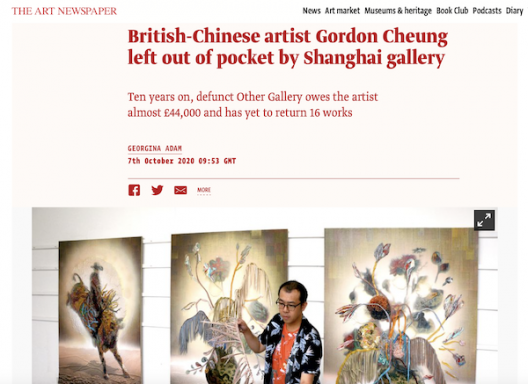 Screenshot of the original online version of the article published by The Art Newspaper on October 7, 2020