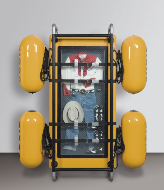 Ashley Bickerton Seascape: Floating Costume to Drift for Eternity II (Cowboy Suit) (1992) Cowboy suit, glass, aluminum, wood, caulk, fiberglass, enamel and canvas webbing 22 x 92 x 81 inches 55.9 x 233.7 x 205.7 cm (image courtesy the artist)