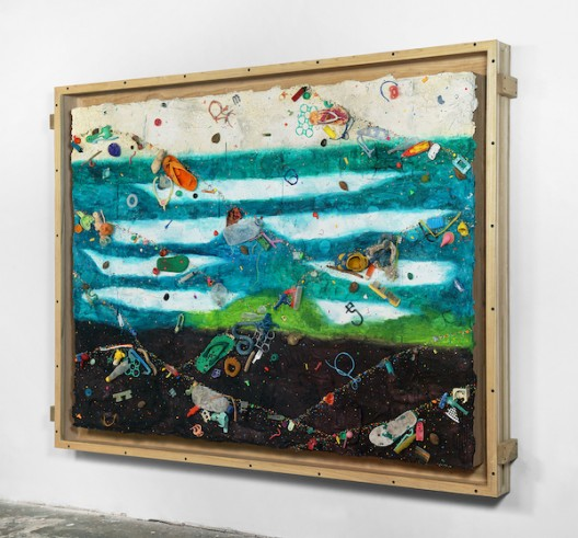 Ashley Bickerton, Green Waves (2020), flotsam, ocean borne detritus, oil paint, acrylic paint & rocks on wood and cardboard, 171.5cm x 227cm x 14.7cm 67 1/2