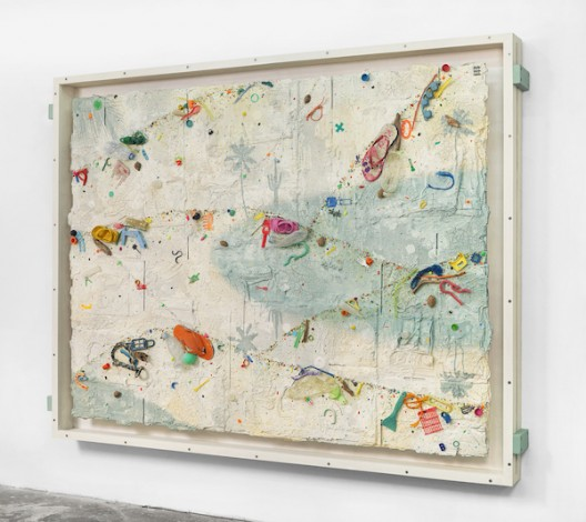 Ashley Bickerton, Padang Moon (2020), flotsam, ocean borne detritus, oil paint, acrylic paint & rocks on wood and cardboard, 171.5cm x 227cm x 14.7cm 67 1/2