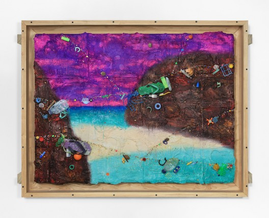 Ashley Bickerton, Lagoon With Strom Front (2020), flotsam, ocean borne detritus, oil paint, acrylic paint & rocks on wood and cardboard, 133cm x 176cm x 14.7cm 52 3/8