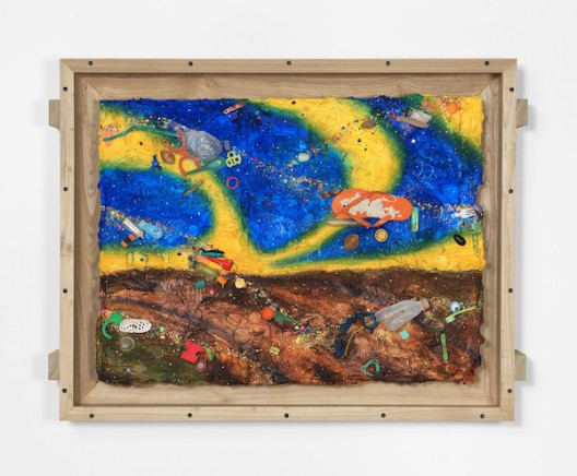 Ashley Bickerton, Night Sky Over Fallow Field (2020), flotsam, ocean borne detritus, oil paint, acrylic paint & rocks on wood and cardboard, 95cm x 126cm x 14.7cm 37 3/8