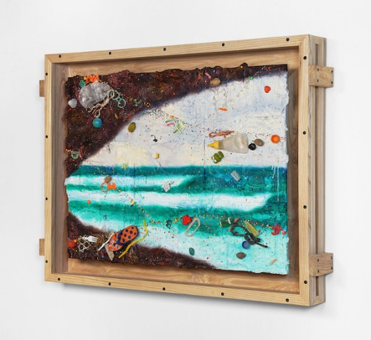Ashley Bickerton, Balangan Cave (2020), flotsam, ocean borne detritus, oil paint, acrylic paint & rocks on wood and cardboard, 95cm x 126cm x 14.7cm 37 3/8