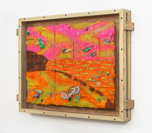 Ashley Bickerton, Balangan Sunset (2020), flotsam, ocean borne detritus, oil paint, acrylic paint & rocks on wood and cardboard, 95cm x 126cm x 14.7cm 37 3/8
